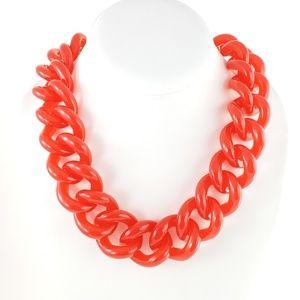 J. Crew Jewelry - J. Crew Chunky Statement Necklace Red Orange Pop